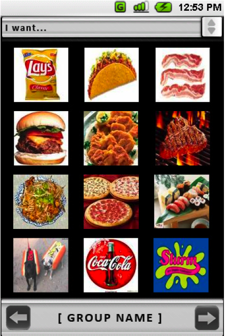 Screen capture from a smartphone: A user views a custom gallery of food and drink options.